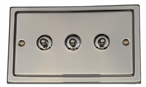 G&H TC283 Trimline Plate Polished Chrome 3 Gang 1 or 2 Way Toggle Light Switch